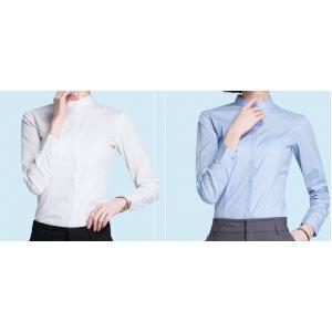 เล็กใหญ่พิเศษ!!เสื้อเชิ้ตแขนยาวผู้หญิง คอจีน เข้ารูป ซ่อนกระดุม size No.XS-4XL สีขาว ฟ้า ดำ น้ำเงิน