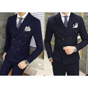 ชุดเสื้อสูท กางเกง กระดุมคู่ 6เม็ด สไตล์อังกฤษ ปกปิดมาตรฐาน ลายทางตรง น้ำเงิน ดำ Size No.34 36 38 40 42