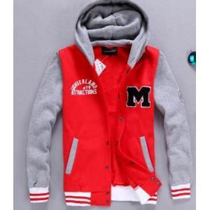 หมดแล้วหมดเลย!!เสื้อเบสบอล เสื้อหนาวมีฮู้ด M No.36 38 สีแดงแขนเทา