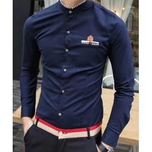 เสื้อเชิ้ตคอจีนแขนยาว แฟชั่นกระเป๋า คอลาย สีน้ำเงิน No.38