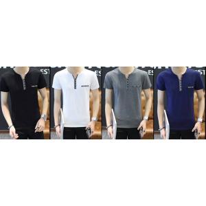 4สีสุดคุ้ม เสื้อยืดคอวี แต่งสาบเทา 2tone size No.35 37 39 41 43 สีน้ำเงิน ขาว เทา ดำ