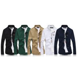 ซื้อคู่สุดค้ม1250หลากสี!!เสื้อเชิ้ตคอจีนแขนยาว แต่งหมุดทอง สลิมฟิต แฟชั่น สีดำ เขียว กากี ขาว น้ำเงิน No.40 41.5 43 45