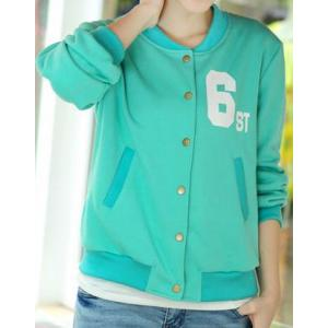 เสื้อแจ็คเก็ตเบสบอล 6 สีเขียวอ่อน No.37