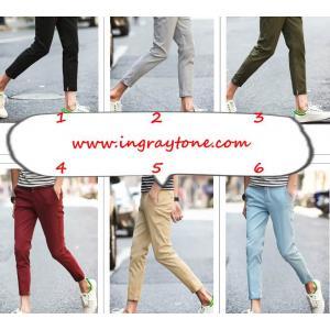 กางเกงสแล็คสามส่วน แต่งเทป kq No.28-34 ขาว เทา กากี ดำ น้ำเงิน เขียว เขียวเข้ม แดง