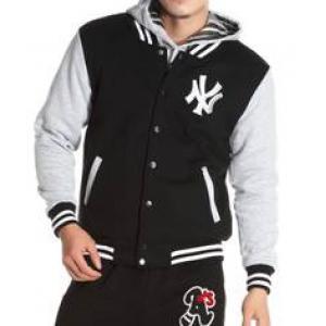 เสื้อแจ็คเก็ต เบสบอล 2โทน NY สี ดำเทาอ่อนไม่มีหมวก No.42 44