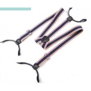 สายรัดกางเกงเอี๊ยมกระดุม แบบยืดหยุ่น วินเทจหูหนัง กว้าง 3cm หุกระดุม6จุด แบบ Y สีน้ำเงินแดงลายทาง