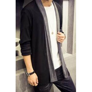 เสื้อคลุม คาดิแกนทูโทน ตัวยาว No 40 42 สีดำ