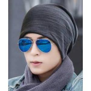 หมวกผ้า2หน้า!!หมวกผ้า หมวกคลุม หมวกผ้าพันคอ แต่งลายเก่า (เทา ดำ น้ำตาล)