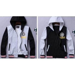 เสื้อแจ็คเก็ต เสื้อคลุมเบสบอล มีฮู้ด เบสบอล FM สีดำแขนเทา เทาดำ No.36 38 40 42