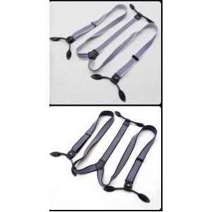 วินเทจ!!สายรัดกางเกงเอี๊ยมกระดุม แบบยืดหยุ่น วินเทจหูหนัง กว้าง 2.5cm หุกระดุม6จุด แบบ Y สีลายทาง ขาว ดำ