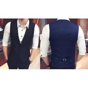 Limited 2สีเล็ก+ใหญ่พิเศษ!!เสื้อกั๊กสูท ดีไซน์ กระดุม1เม็ด สีน้ำเงิน ดำ Size No.33 35 37 39 41 43