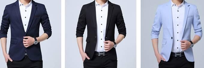 ใหม่ใหญ่พิเศษ!! เสื้อสูทสลิมฟิต กระเป๋าซิกแซก Size No.35 37 39 41 43 45 47น้ำเงิน ครีม ดำ แดง ฟ้าอ่อน