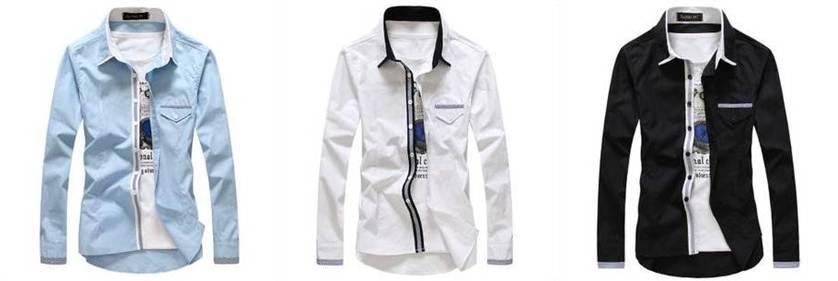 เสื้อเชิ้ตแขนยาว ปกเล็ก แฟชั่นแต่งสาบกระดุม กระเป๋า สีขาว No.38