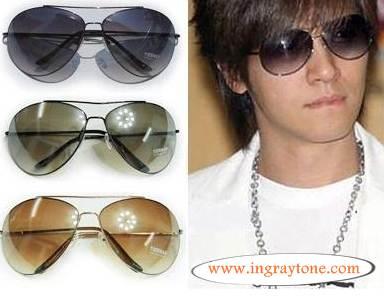 กรอบแว่นตากันแดดแฟชั่น สไตล์เกาหลี ทรงaviator เลนส์โค้ง (เขียวดำ)