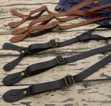 2สีน้ำตาล ดำ!!สายรัดกางเกงเอี๊ยมยีนส์ แบบกลัดกระดุม หนังแท้ วินเทจ กว้าง 1.5cm แบบ Y ดำ กากี