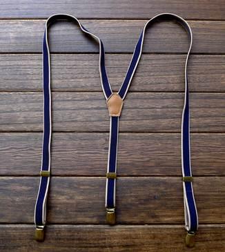 วินเทจ 1.5cm!!สายรัดกางเกงเอี๊ยม วินเทจ หัวทองเหลือง กว้าง 1.5cm แบบ Y สีน้ำเงินกากี