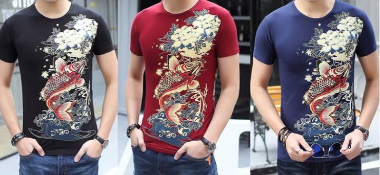 เสื้อยืดเข้ารูป3มิติ ลายปลา ญี่ปุ่น แขนสั้นคอกลม สกรีน คละแบบ173 174 175 No.34 36 38 40 42 44 สีดำ ขาว น้ำเงิน แดง
