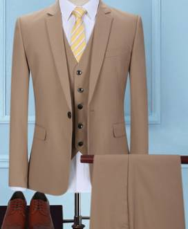 ชุดเสื้อสูท แฟชั่นชาย สไตล์อังกฤษ ปกเปิด สีกากี Size No.34 36 38 40 42