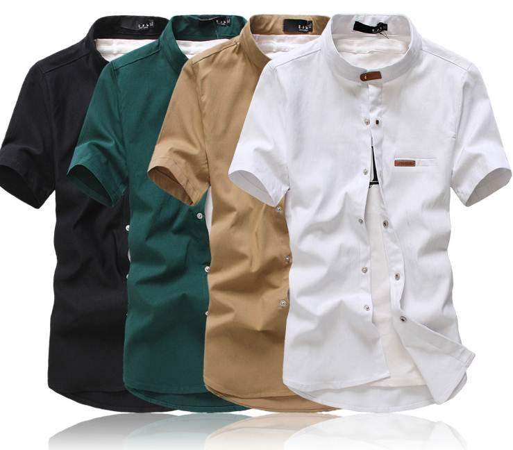 ใหม่+6สี+ซื้อคู่พร้อมส่ง1200-เสื้อเชิ้ตคอจีนแขนสั้น แต่งคอเข็มขัด สีดำ ขาว เขียว กากี แดง น้ำเงินNo.34 36 38 40 42 44