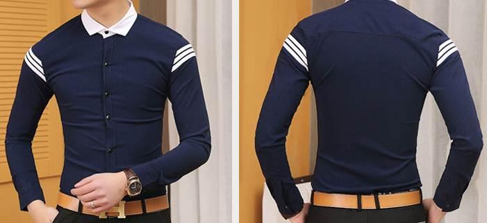 ดีไซน์พิเศษ!!เสื้อเชิ้ตแขนยาว ปกเล็ก แฟชั่นแต่งเทปบ่าแขน สีขาว น้ำเงิน No.34
