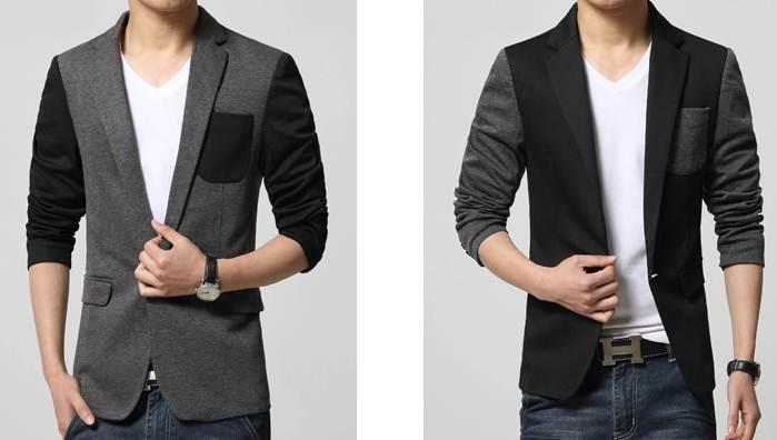 เล็ก+ใหญ่พิเศษ เสื้อสูทแฟชั่น ปกเปิด แขนทูโทนตัดกระเป๋าปิด ตัวสีดำ เทา size No.35 37 39 41 43