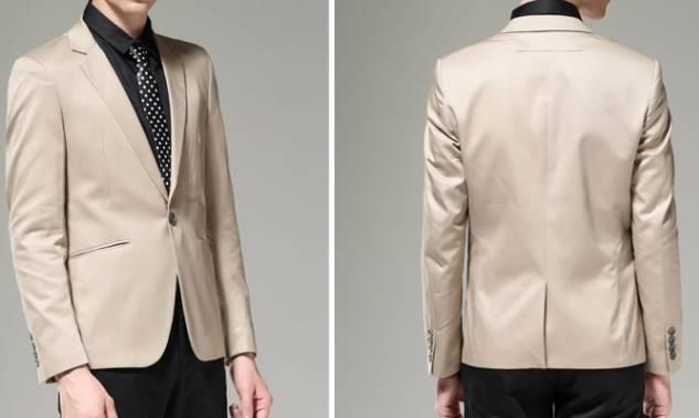เสื้อสูท แฟชั่นชาย สไตล์อังกฤษ ปกเปิด สีกากีอ่อน Size No.38 40