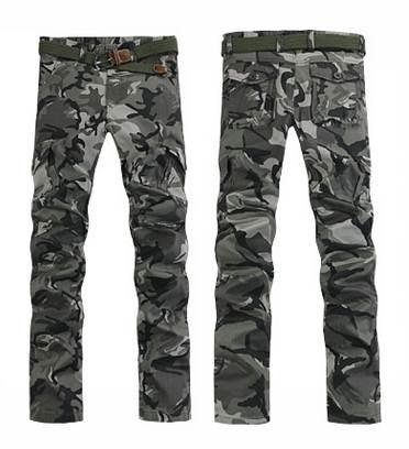 กางเกงขาเดฟ สลิมฟิต แฟชั่นลายพราง สีเทา *No.29-30