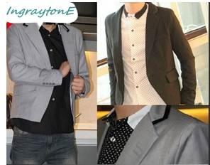 เล็กไม่สูง!!เสื้อสูทแขนและเสื้อสั้น สลิมฟิต ตัวสั้น ปกคลิบดำ Size No.36 (ดำ)