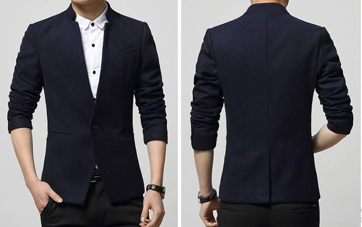 3สีเล็กพิเศษ!เสื้อสูทคอจีนแฟชั่นสลิมฟิตเรียบกระดุม1 Size No.33 35 37-39 สีดำ น้ำเงิน แดง