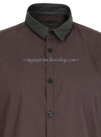 งานเนี๊ยบ!! เสื้อเชิ้ตแขนยาว เสื้อคอปกเล็ก ทรงฟิต ปกเล็ก สไตล์อังกฤษ BT No.40(แดงอมเทา)