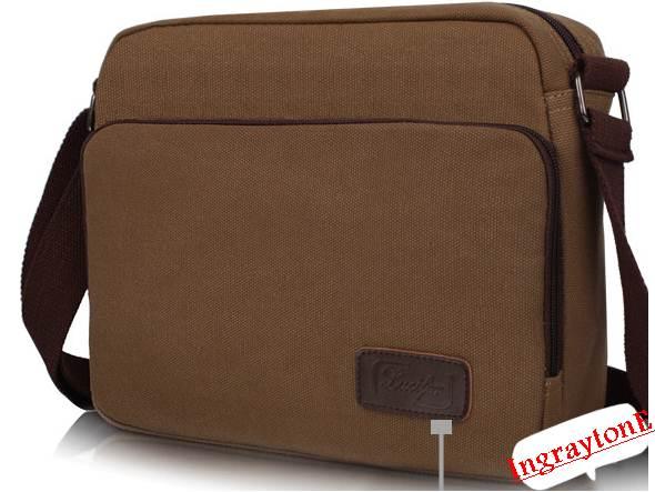 กระเป๋าสะพาย ไอแพด แทบเบล็ต หน้าจอ10นิ้ว ขนาดกลาง เนื้อผ้าใบ สีน้ำตาล