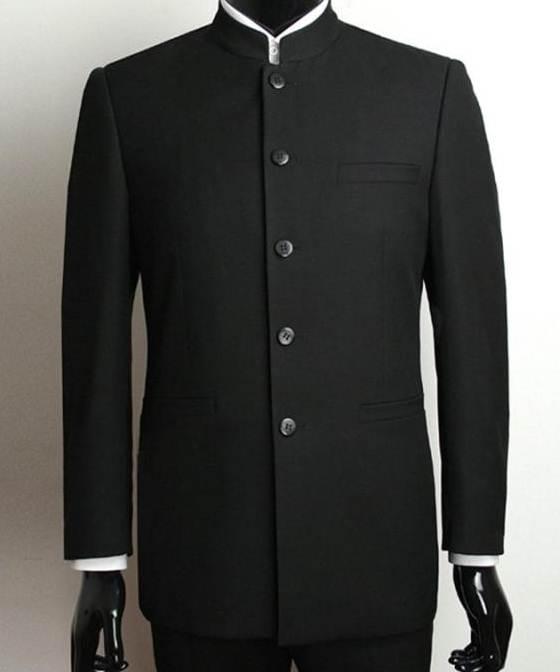 ชุดราคาพิเศษ!!มีกระดุมตามสั่ง1650!!ชุดสูท คอจีนกระดุมดำ เสื้อ+กางเกง Size No.38 40 42 44 46 ดำ