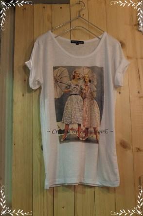 เสื้อยืด ลายวินเทจ 2 UMB Size No.40 (ครีม)