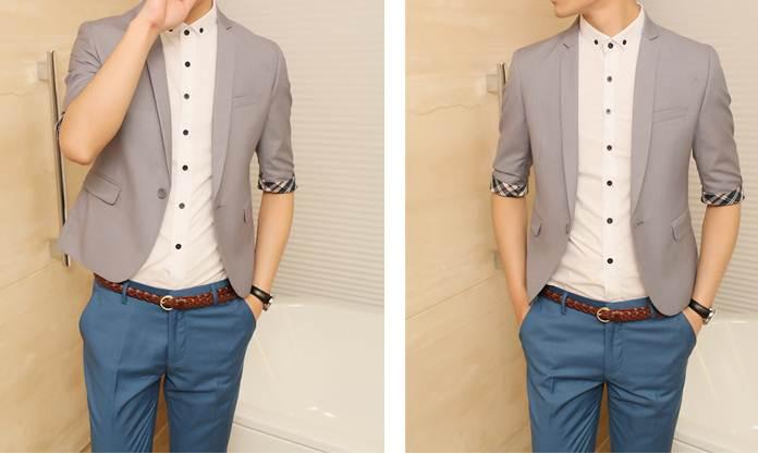 เสื้อสูทตัวเล็ก แขนสั้นหลากสี ทรงสลิมฟิต แต่งแขนสก็อต Size No.37 เทา