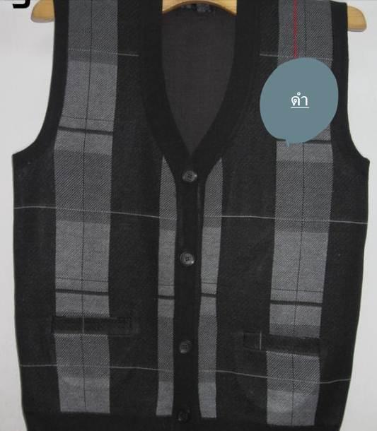 เสื้อกั๊กไหมพรมผู้ชาย ลายสก็อต กระดุมผ่า Size No.40 42 สี ดำ