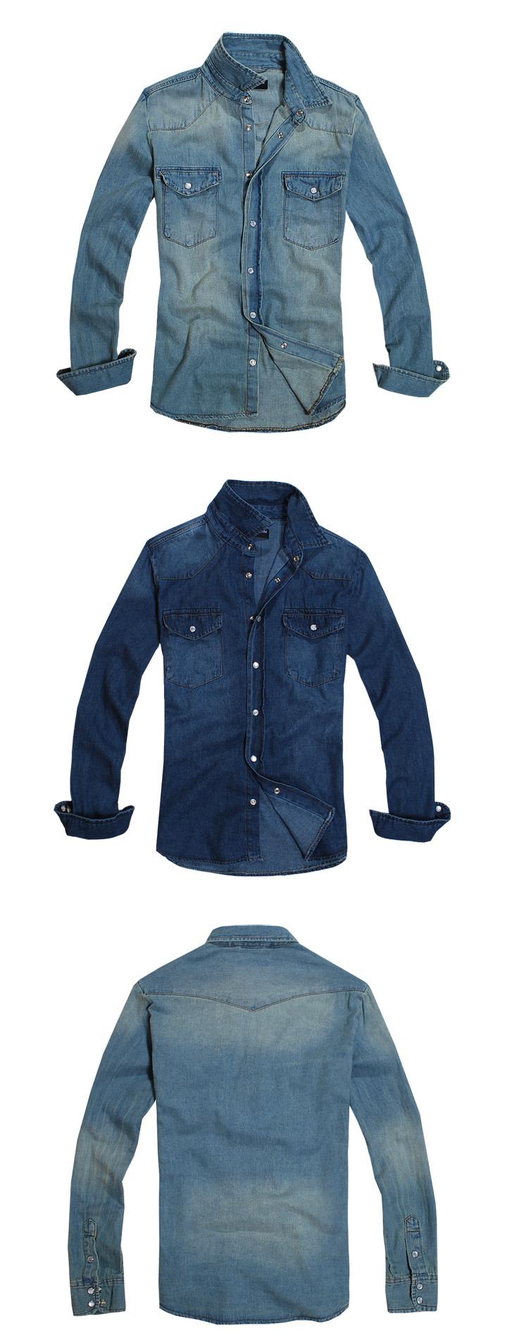เสื้อเชิ้ตยีนส์แขนยาว สไตล์ยุโรป ผ้ายีนส์ฟอก สีฟ้า No.38