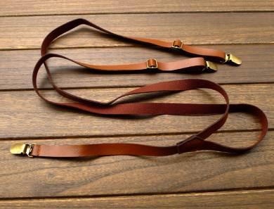 วินเทจ หลากสี!!สายรัดกางเกงเอี๊ยม แบบหนัง วินเทจ หัวทองเหลือง กว้าง 1.5cm แบบ Y กากี ดำ ทอง น้ำตาล