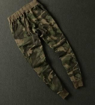 กางเกงผ้าฝ้ายขาจั๊มยาว ลายพราง เอวจั๊ม รูด ออกกำลังกาย ฟิตเนส แฟชั่น สีเขียว No.4 size 27-34