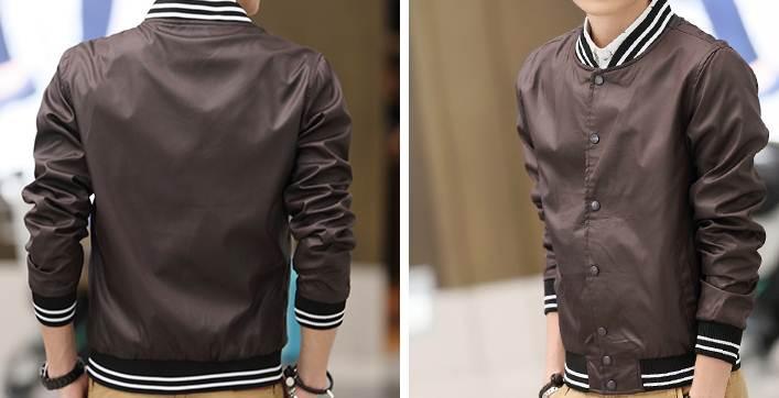 เสื้อแจ็คเก็ต เสื้อคลุมเบสบอล แฟชั่น ผ้าร่ม สี น้ำตาล No.42 44