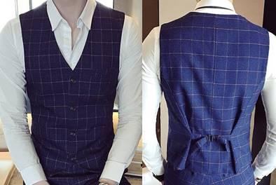 2สีเล็ก+ใหญ่พิเศษ!!เสื้อกั๊กสูท สก็อต กระดุม4เม็ด สีน้ำเงิน ฟ้าเข้มSize No.34 36 38 40 42 44