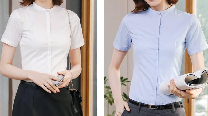 เล็กใหญ่พิเศษ!!เสื้อเชิ้ตแขนสั้นผู้หญิง คอจีน เข้ารูป แต่งกระดุมคอ size No.32-46 สีขาว ฟ้า เทา