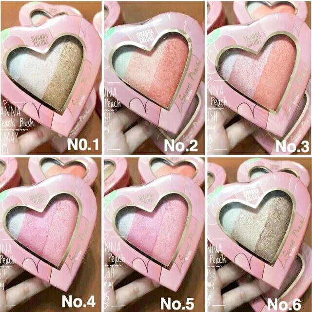 Sivanna colors Sweet Peach Blush HF8120 บรัชออนพาเลทรูปหัวใจ 3 สี ราคาปลีก 100 บาท / ราคาส่ง 80 บาท