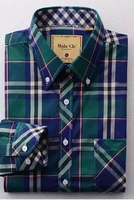 เสื้อเชิ้ตแขนยาว ลายเช็ค สไตล์อังกฤษ สี เขียวเข้ม NO. 42 44