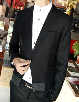 เล็กสั้นพิเศษ!! เสื้อสูท สลิมฟิต ตัวเล็ก ดีไซน์กระดุมร่ม ขอบซาติน Size No.36 ดำ