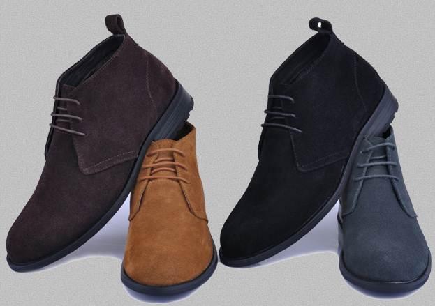 รองเท้าหุ้มข้อ หนังกลับแบบเรียบ สีดำ เบจ น้ำตาล เทา No.37-47