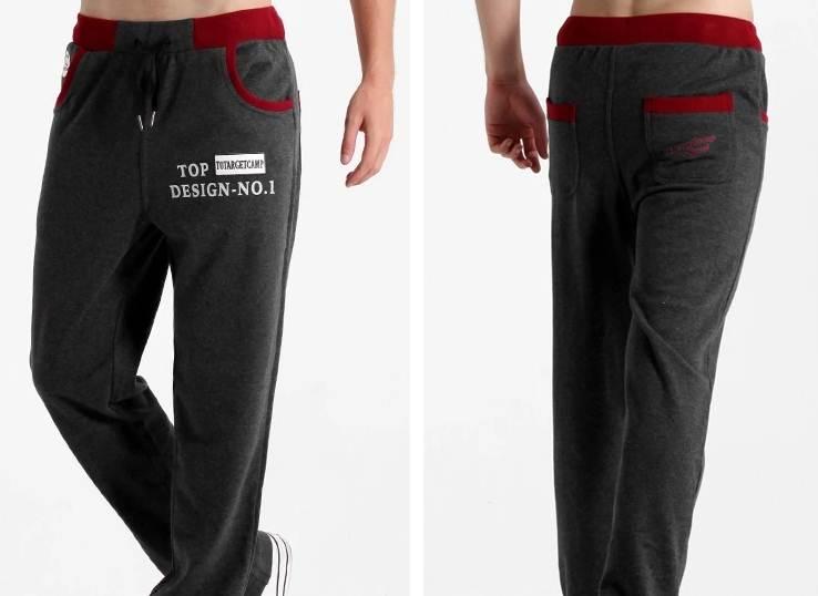 4สี!!กางเกงผ้าฝ้ายขายาว ทูโทน ปักโโก้ แต่งเทปกระเป๋าเอวจั๊ม รูด ดำ เทา เขียว แดง size 27-37