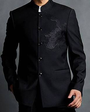 สีพิเศษ!!สูท คอจีนกระดุมดำ Size No.36 38 40 42 44 46 ดำมังกร