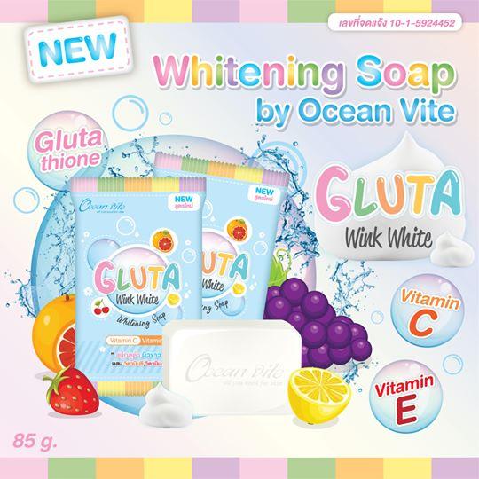 Whitening Soap by Ocean Vite สบู่โอเชียนไวท์ สูตรกลูต้าวิ้งค์ไวท์ ราคาปลีก 40 บาท / ราคาส่ง 32 บาท