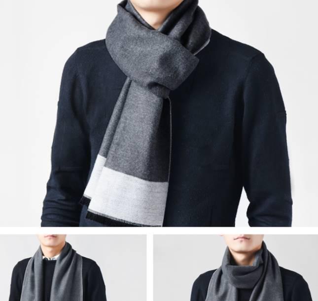 Limited!ผ้าพันคอผู้ชาย กันหนาว ชายสั้นทูโทน คละแบบ สี