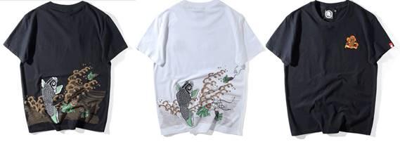 3D3สี!! ลายปลาคาร์ฟ ปักปราณีต l!!เสื้อยืด เสื้อคู่ ปลาญี่ปุ่น No. 33 36 38 40 42 44 สีดำ ขาว